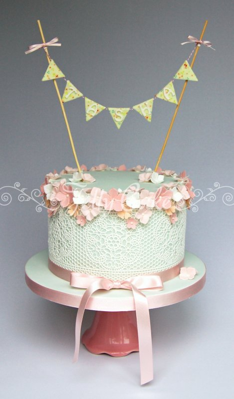 Easter table decoration - Lace And Bunting Birthday Cake