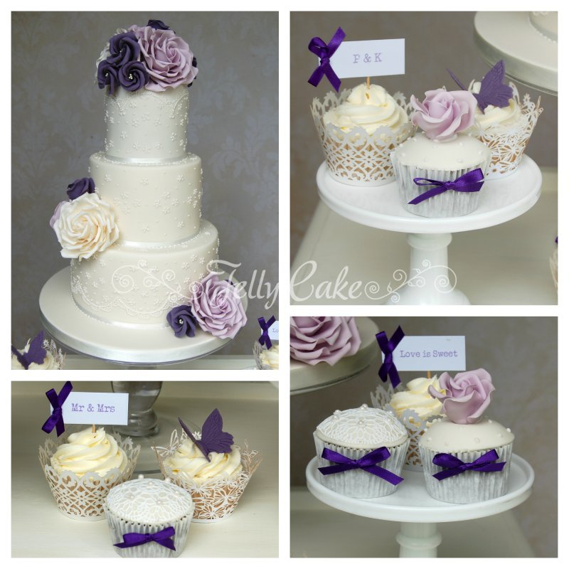 Lilac Cupcake Tower Collage 1