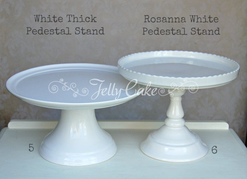 White Cake Stands - Labelled