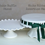 White Ruffle Cake Stands - Labelled