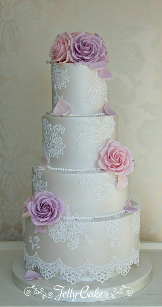 Shimmer Lace Wedding Cake