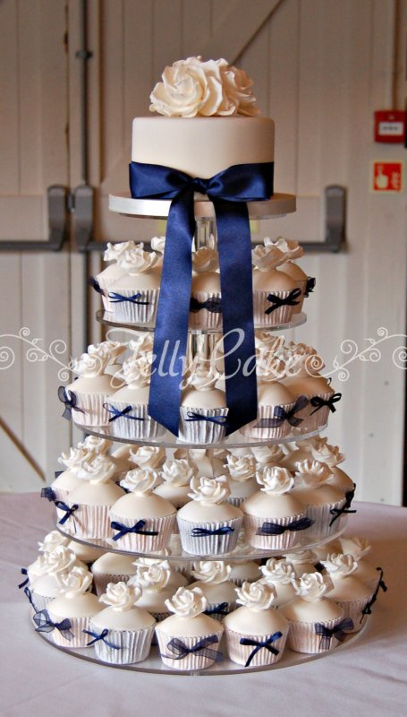 navy blue wedding cake with cupcakes cupcakes and mini cakes jellycake 17781
