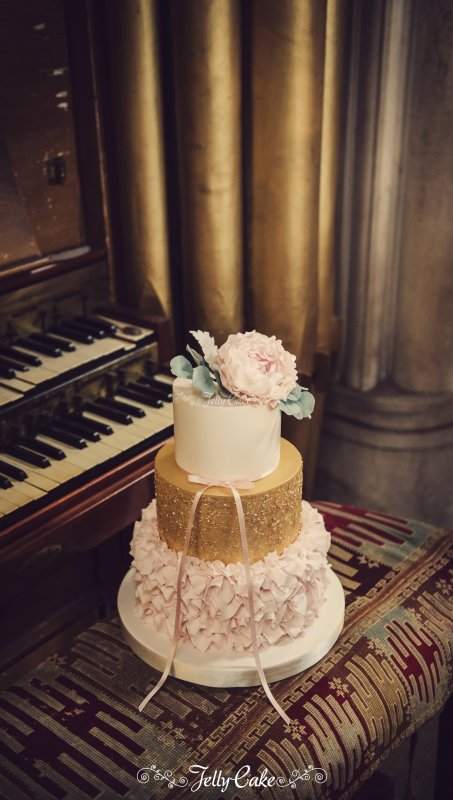 Ruffles and Gold Wedding Cake