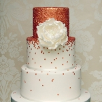 rose gold sequins wedding cake